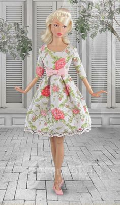 Feminine rose print summer dress for Poppy has a lined bodice with Empire waist and bow , box pleated skirt, and soft pink lace trim on the hemline. Dress has snap back closure. Doll and shoes are not included. Box Pleat Skirt, Box Pleats, Pleated Skirt, Daytime Dresses, Summer Dresses, Plastic Girl, Barbie, Pink Lace, Fashion Dolls