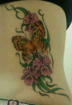 butterfly tattoos | Tiger Face in Butterfly tattoo