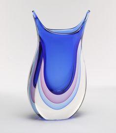 Murano Glass Vase Blue/Ruby/Blue