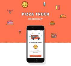 Pizza Truck - Fresh Food App on Behance Food Truck App, Food Truck Party, Pizza Truck, Pizza Project, Restaurant App, Car App, Event App, Case Study Design, App Promotion