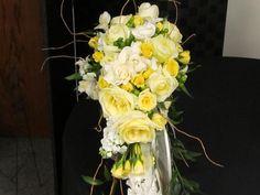 Cascading Wedding Bouquet!  Yellow Roses, White Stock, Gardenias,  Perfect for A Romantic Wedding.