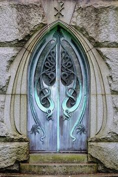 wonderful arched Art Nouveau door