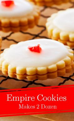 You'll trump your guests taste buds with this delicious Empire Cookies recipe by Anna Olson! Candy Recipes, Brownie Recipes, Baking Recipes, Cookie Recipes, Dessert Recipes, Diet Recipes, Anna Olson, Xmas Food, Christmas Cooking