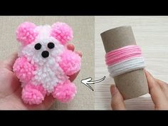 Amazing Teddy Bear Making with Wool - Super Easy Teddy Bear Make at Home - How to Make Teddy Bear - YouTube Teddy Bear Crafts, Diy Teddy Bear, Yarn Animals, Pom Pom Animals, Easy Yarn Crafts, Pom Pom Crafts, Woolen Craft, Pom Pom Wreath, Towel Crafts