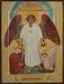 Temperance: Archangel Michael absorbed in the alchemical process of tempering fire with water, masculine with feminine, conscious with unconscious. (Artist & Iconographer Andrea Bowes)