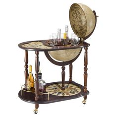 Add a touch of worldly appeal to your scheme with this antique-effect globe bar trolley, featuring an underneath shelf and wheelable design. Opening up to re...