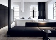 Loft in schwarz und Weiß mit Sprossenfenstern