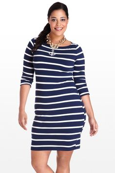 This super cute nautical-inspired dress is a true summer staple: versatile, won't wrinkle, and is as comfortable as it is stylish. Wide boatneck shows off that gorgeous collarbone, while the simple silhouette flatters one and all. Pair with wooden jewelry or a pop of red or coral.l/s rayon jsy stripe dress