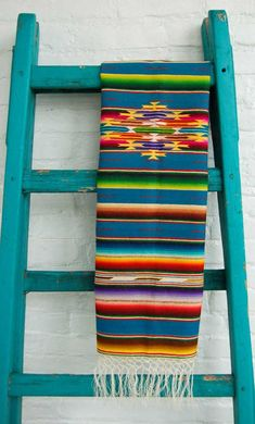 Mexican wool runner via Paint + Pattern Love the painted ladder!