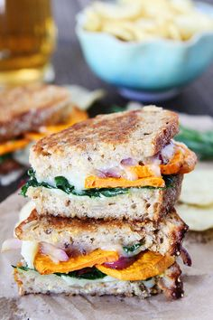 Sweet Potato and Kale Grilled Cheese! Add some cranberry #JustMayo to this festive comfort sandwich!