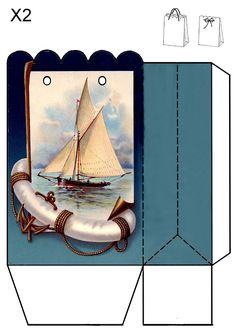 Sailboat gift bag.  Print two copies whatever size you need.  Glue them together and add a cord or ribbon.