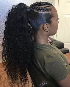 ponytail hairstyles black hair pictures trends 2020 Hair styling adds an additional beauty to a woman. Black or white, the hair style matters a lot in your Hair Ponytail Styles, Weave Ponytail Hairstyles, Sleek Ponytail, African Braids Hairstyles, Curly Hairstyles, Black Women Hairstyles, Mohawk Braid Styles, Curly Ponytail Weave, 4 Braids Hairstyle
