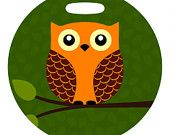 Luggage Tag - Hoot the Orange Owl - 4 Inch Round Large Plastic Bag Tag