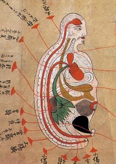 The illustration from a late 17th-century document based on the work of Majima Seigan, a 14th-century monk-turned-doctor, Japan