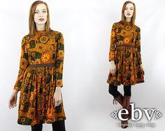 Vintage 70s Ethnic Print Hippie Mini Babydoll Dress XS by shopEBV, $68.00