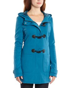 c84cc29faba Yoki Teal Fleece Hooded Toggle Coat - Women by Yoki