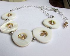 White Shell Necklace Shell and crystal by EarthlieTreasures, $28.95