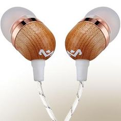 Marley Smile Jamaica In-Ear Headphones, 1 Button Microphone Control Earphones, Noise Isolating Driver, Earbuds Included in 2 Sizes for Lasting Comfort, Tangle-Free Cable - Copper