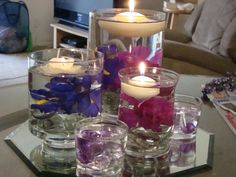 Wedding Centerpieces Floating Candles Picture Floating Candles At . Inexpensive Wedding Centerpieces, Floating Candle Centerpieces, Wedding Reception Centerpieces, Centerpiece Ideas, Wedding Ceremony, Purple Wedding Tables, Very Small Wedding, Candle Picture, Wedding Ideas