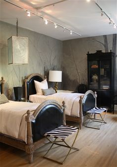 Love the design of this bedroom with the two twin beds. More Neutral or masculine style. Perfect for a guest   bedroom, etc.