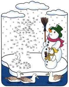 Coloriage points à relier : Qui se cache dans la neige ?