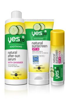 Summer Must-Haves: Yes To Cucumbers Sunscreen Bundle (Natural Sunscreen for Face and Body, Natural Sunscreen Stick and After-Sun Serum)
