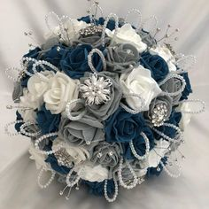 Artificial Wedding Flowers, Brides Posy Bouquet with Teal Blue, Grey and White Roses with brooches, crystals and diamantes Ivory Roses, Grey Roses, Pink Roses, Beach Wedding Headpieces, Headpiece Wedding, Wedding Bouquets, Wedding Flowers, Small Bouquet, Wrist Corsage