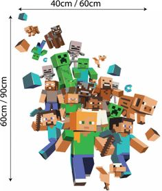 minecraft stickers for walls | Details about FULL COLOUR MINECRAFT XBOX GAME WALL STICKER MURAL DECAL ...