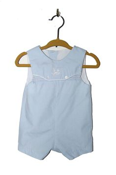 Vintage 1960s boys light blue smocked embroidered by Falabellas