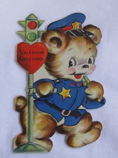 vintage Valentines Day card Bear vintage 1930s by roseluv on Etsy, $9.00