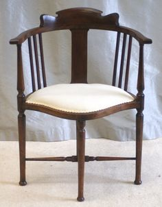 Inlaid Edwardian walnut corner desk chair - new upholstery - good price - £425 plus shipping from www.antiquedesks.net