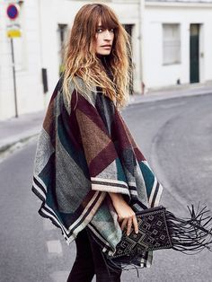 Hairspiration... and a cool poncho to boot... (Free People Scotty Border Stripe Poncho)
