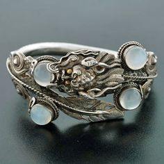 Brandt and Son dragon bracelet, moonstone and sterling, late Art Deco period