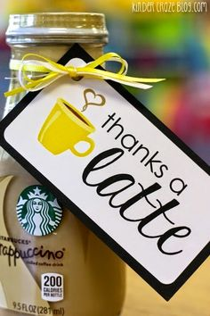 """FREE """"thanks a latte"""" gift tags for end-of year parent gifts - Teacher Gift Idea - teacher appreciation gifts Thanksgiving Teacher Gifts, Free Gifts, Diy Gifts, Diy Presents, Thanks A Latte, Employee Appreciation Gifts, Staff Appreciation Gifts, Appreciation Quotes, Employee Gifts"""
