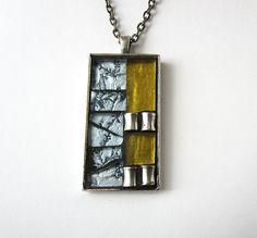 Teinté verre pendentif mosaïque  Rectangle verre par herleymosaics
