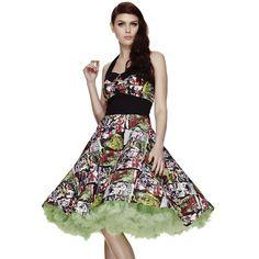 Hell Bunny B-Movie Zombie Horror 50s Style Halterneck Dress