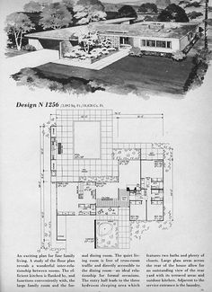 Home Planners Design N1256 | MidCentArc | Flickr Contemporary House Plans, Modern House Plans, House Floor Plans, Mcm House, Vintage House Plans, Vintage Architecture, Home Planner, Kit Homes, Mid Century House