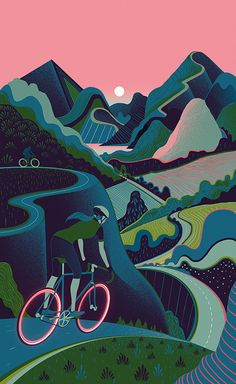 Cycling Illustration by Sam Chivers Art And Illustration, Illustration Design Graphique, Illustrations And Posters, Magazine Illustration, Bicycle Illustration, Mountain Illustration, Fixi Bike, Bicycle Art, Bicycle Wheel