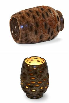 Hand turned from the seed pod of the Banksia Grandis tree of Western Australia, this Tea Lite candle holder displays the wonderful texture and patterning achieved when the Banksia Nuts are turned on a lathe and the rough outside removed.  Banksia Nut Tea Lite Candle Holder | Australian Woodwork
