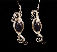 Gorgeous Dark Blue Goldstone Earrings Wire by EarthArtsNW, $74.99 including free shipping!
