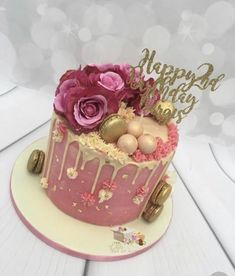 Floral Drip Geburtstagstorte The Effective Pictures We Offer You About Birthday Cake ideas A quality picture can tell you many things. You can find the most beautiful pictures that can be presented to 27th Birthday Cake, 30th Birthday Cake For Women, Birthday Drip Cake, 40th Cake, Bithday Cake, Pink Birthday Cakes, Birthday Cake Decorating, Birthday Ideas, Gateaux Cake