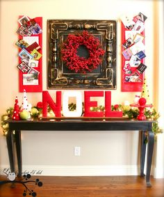 Great foyer decor that displays christmas cards