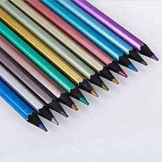 12 Colors Metallic Non toxic Black Wood Drawing Pencils Drawing Sketching Metallic Colored Pencils, Pastel Pencils, Pencil Drawing Tutorials, Pencil Art Drawings, Drawing Ideas, Pencil Painting, Color Pencil Art, Wood Drawing, Drawing Artist