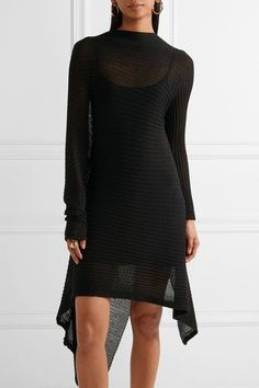 Marques' Almeida - Asymmetric Ribbed Open-knit Dress - Black -