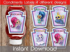 Shimmer and Shine Condiments Labels Printable Shimmer and Shine Instant Download Shimmer and Shine Condiment Labels S Birthday Theme by KreativeDesignIdeas on Etsy