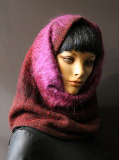 ab388ddf1c42 Scarf tube collar hooded snood neck super comfortable wool red and green  hair long red cameo pink lined Black Fleece. Cache CouSnoodTube ...