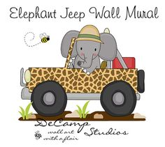 Elephant Jeep Mural Wall Decal for baby boy transportation car nursery or children's jungle safari animal room decor. There are 6 murals to this collection Car Nursery, Elephant Nursery Decor, Baby Nursery Decor, Childrens Wall Decals, Childrens Room Decor, Jungle Room, Jungle Safari, Daycare Design, Baby Shower Clipart