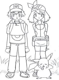 Pokemon Ash and Pikachu Drawing
