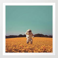astronaut, field, flowers, yellow...