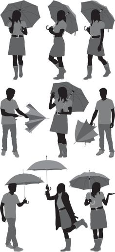 Vectores libres de derechos: Sihouette of people with umbrellas